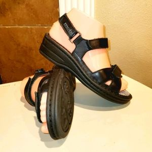 MEPHISTO Mobils Black Leather Strappy Cute Sandals